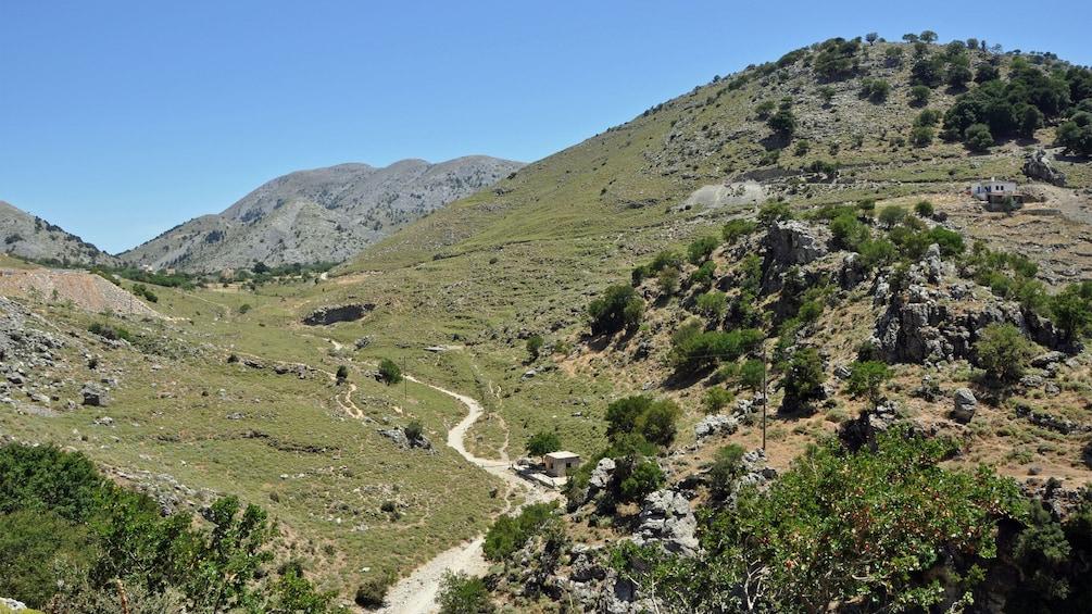 steep grassy mountains in Crete