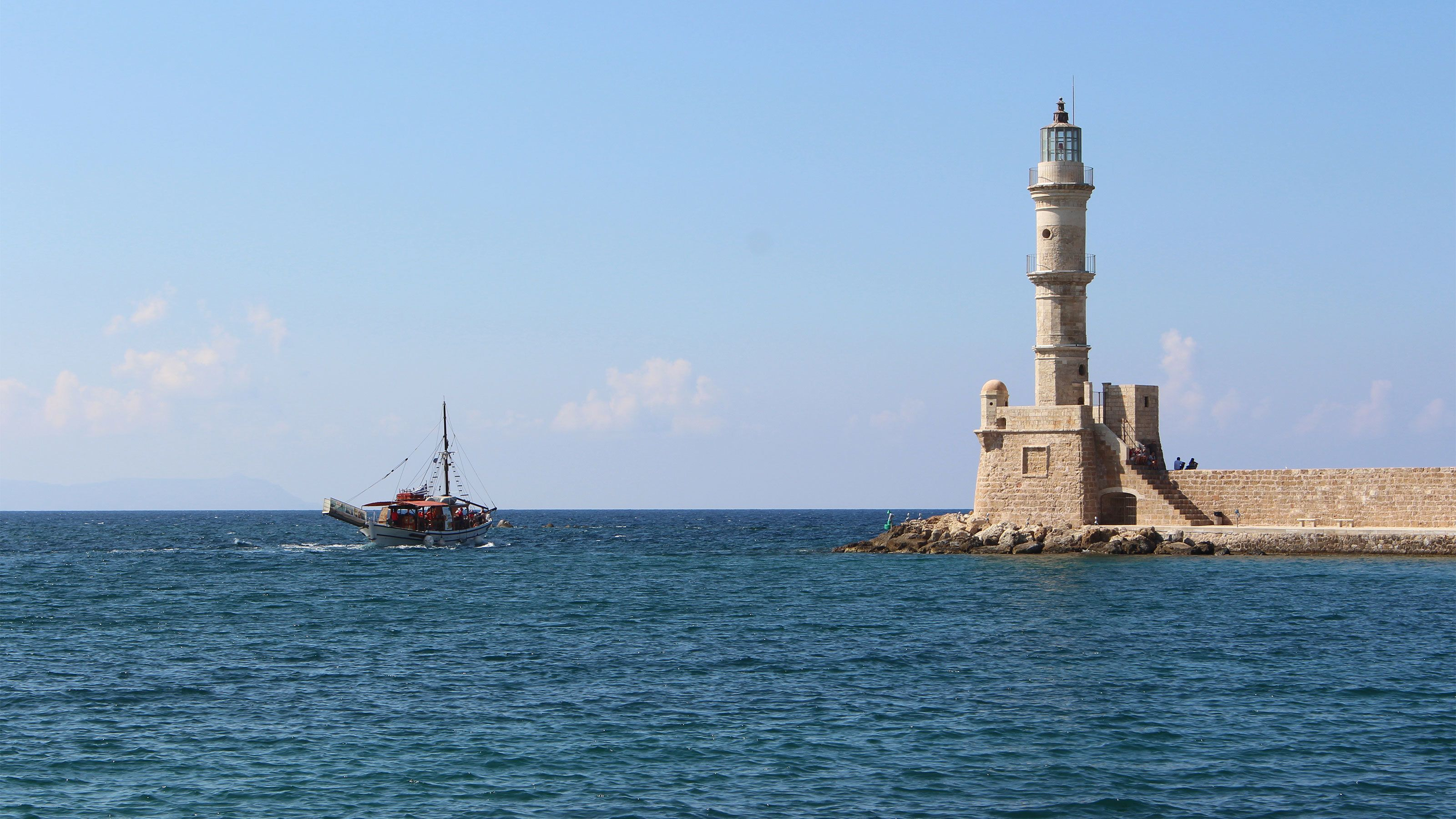 stone light house tower in Greece