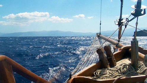 Seascape from the bow of a sailboat in Mirabello Bay