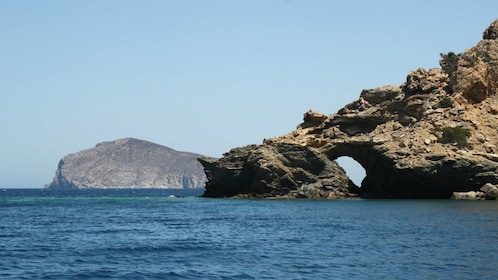 Coastal cliffs and rock formations in Mirabello Bay