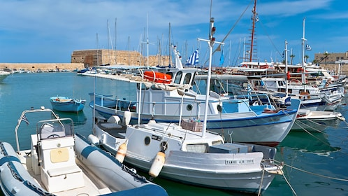 Close view of boats on the water in Heraklion
