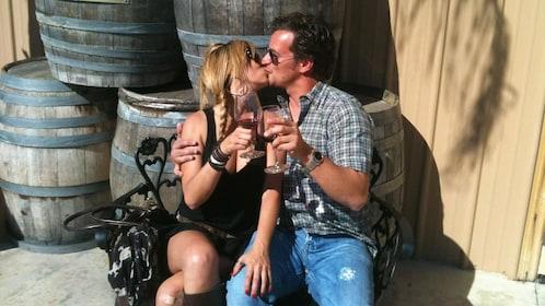 Couple toasting on Temecula Wine Tour near San Diego California