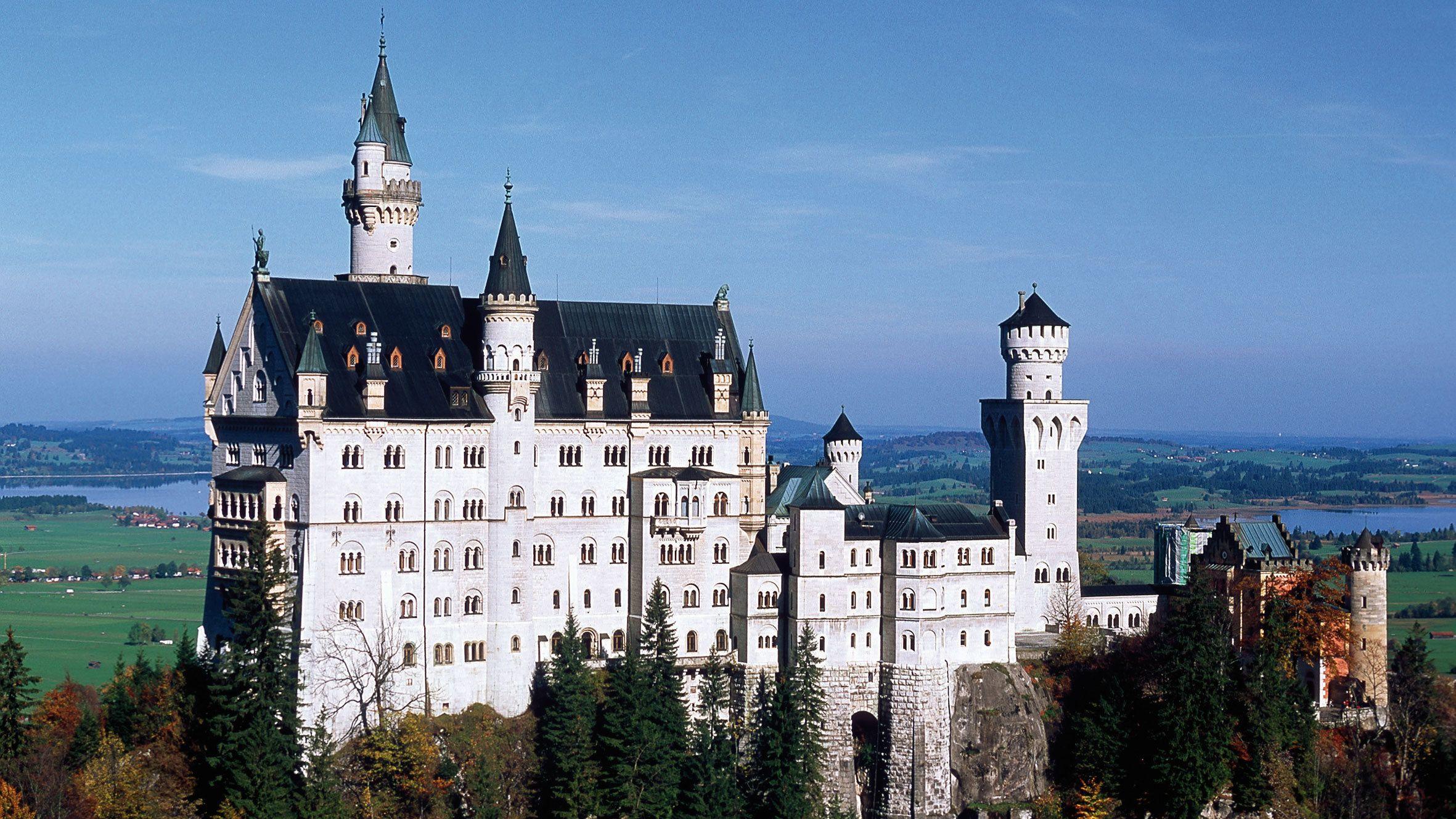Neuschwanstein Castle, a Hill castle in Schwangau, Germany