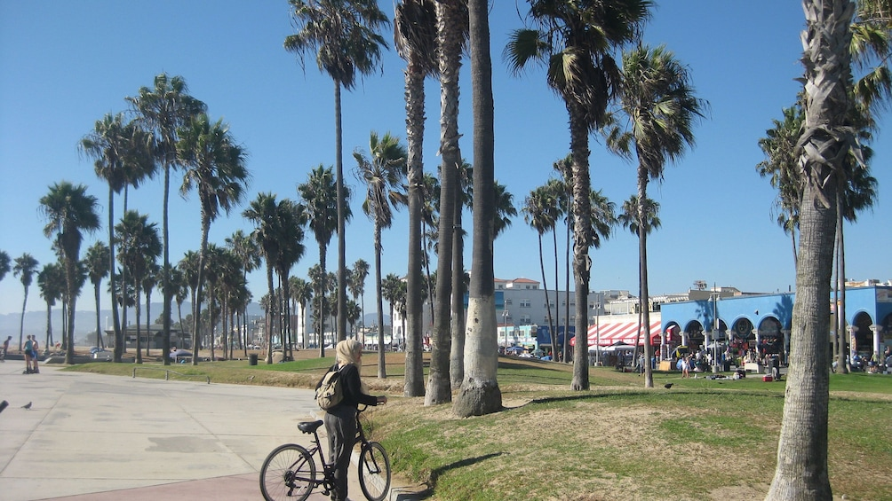 Cargar ítem 1 de 10. Person bicycling on the beach in Los Angeles