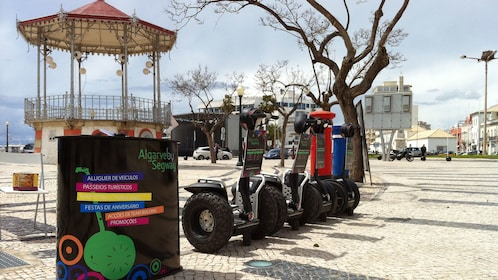 Segways parked in front of the tour booth in Algarve