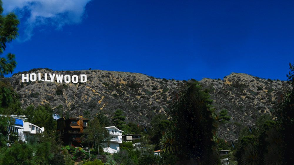 The Hollywood sign towering over nearby homes in Los Angeles