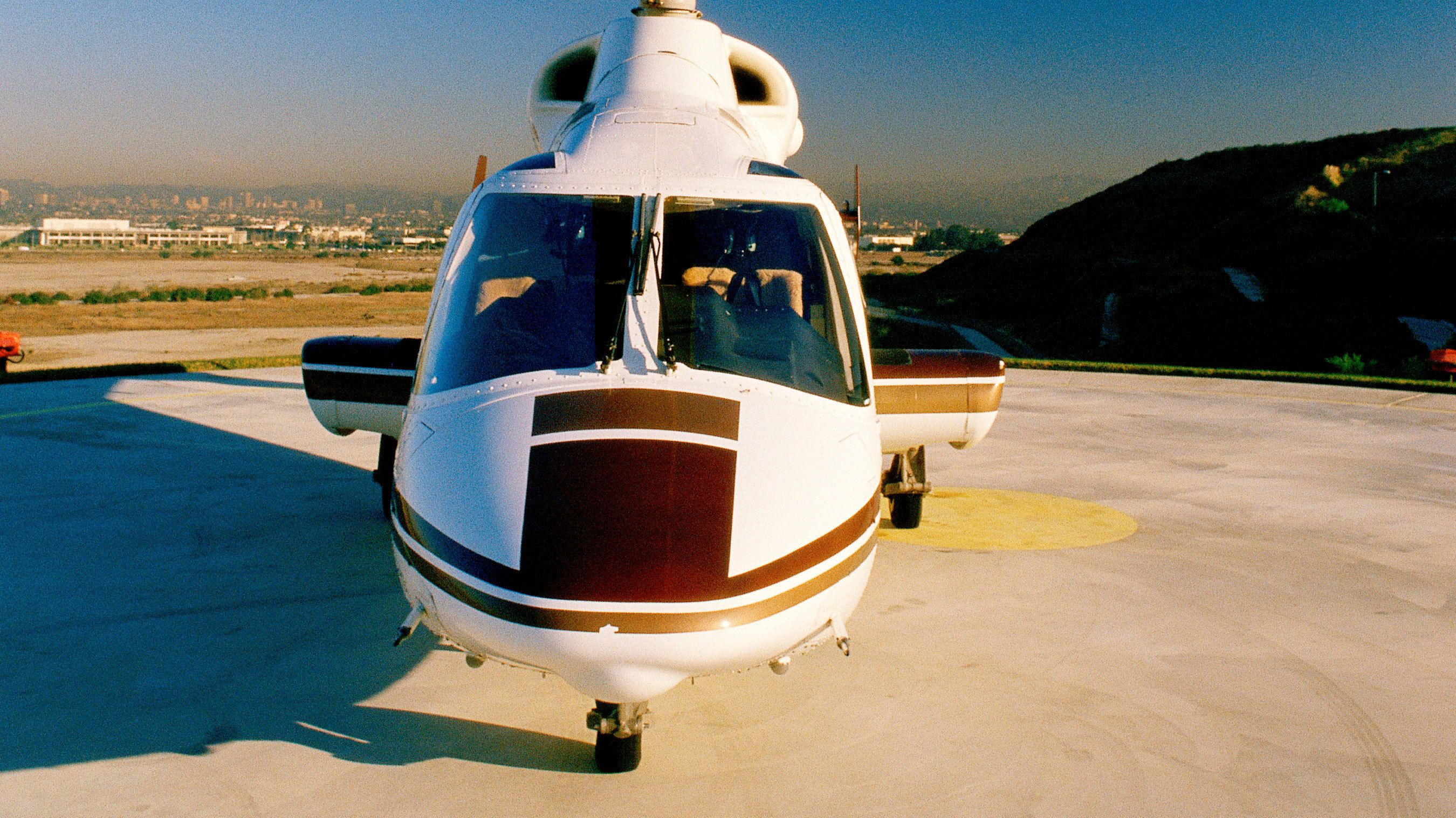 Helicopter getting ready to take off in Los Angeles