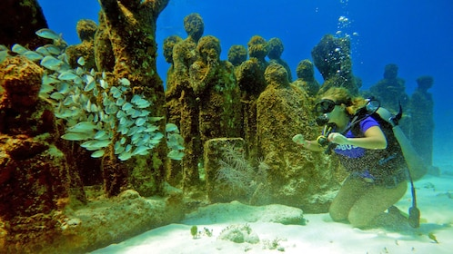 Diver observing the underwater sculptures in Mexico