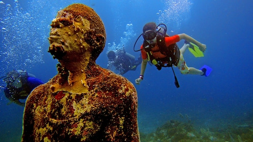 Diving at the Underwater Museum in Mexico
