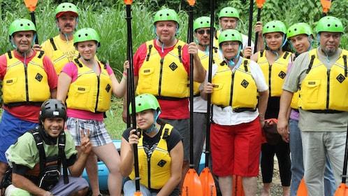 Kayaking group preparing to disembark on their journey