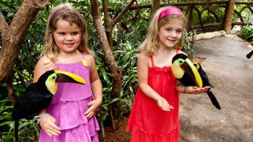 Children interacting with parrots in La Paz Waterfall Gardens