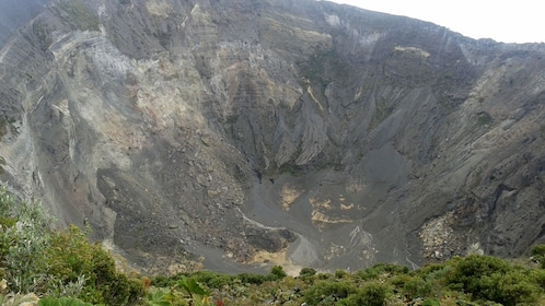 Peer down into the crater of the Irazu Volcano
