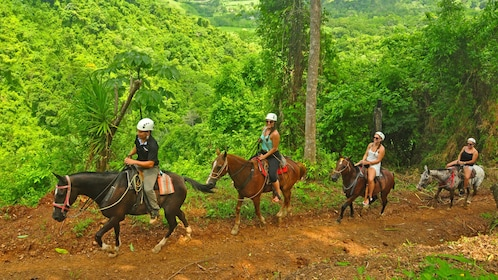 Riding horses along a dirt path in Jaco