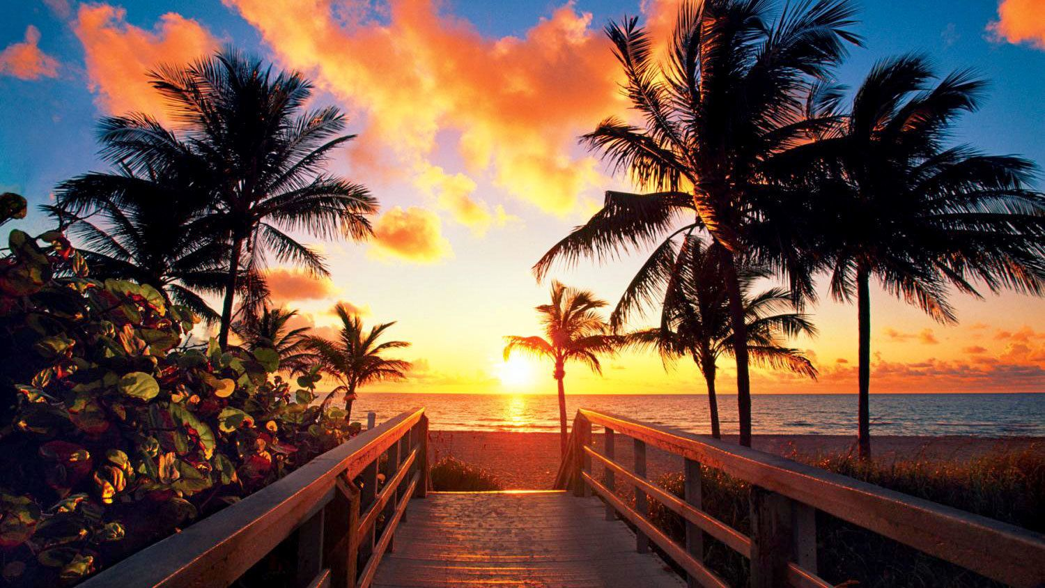 Sunset at a beach in Key West