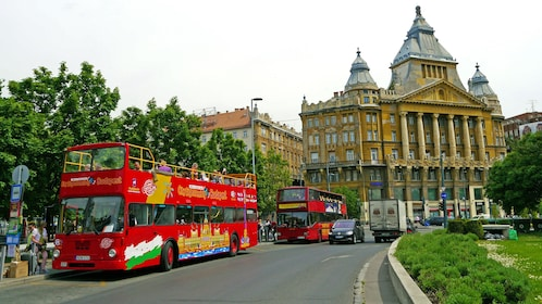 Boarding the double decker bus in Hungary