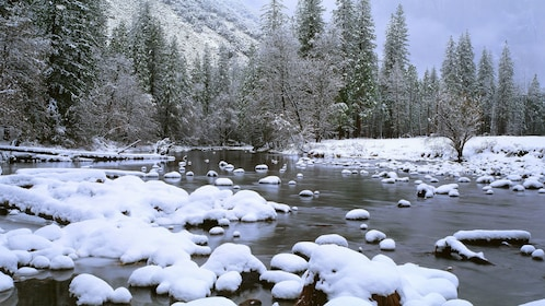 Icy river at Yosemite National Park in California