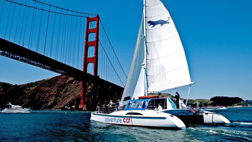 Show item 1 of 10. Boat near Bridge in San Francisco