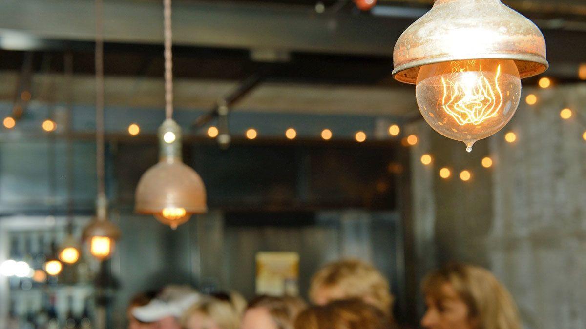 Lighting throughout restaurant during food tour in San Francisco