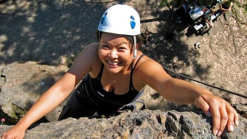 Rock climber learning the ropes in San Francisco