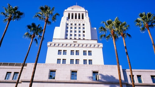 palm trees in front of Los Angelse city hall in Los Angeles