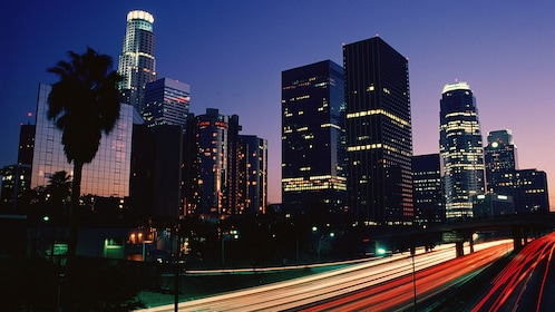 Los Angeles skyscrapers and at night
