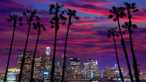 Vibrant sunset and lights from the Los Angeles skyline