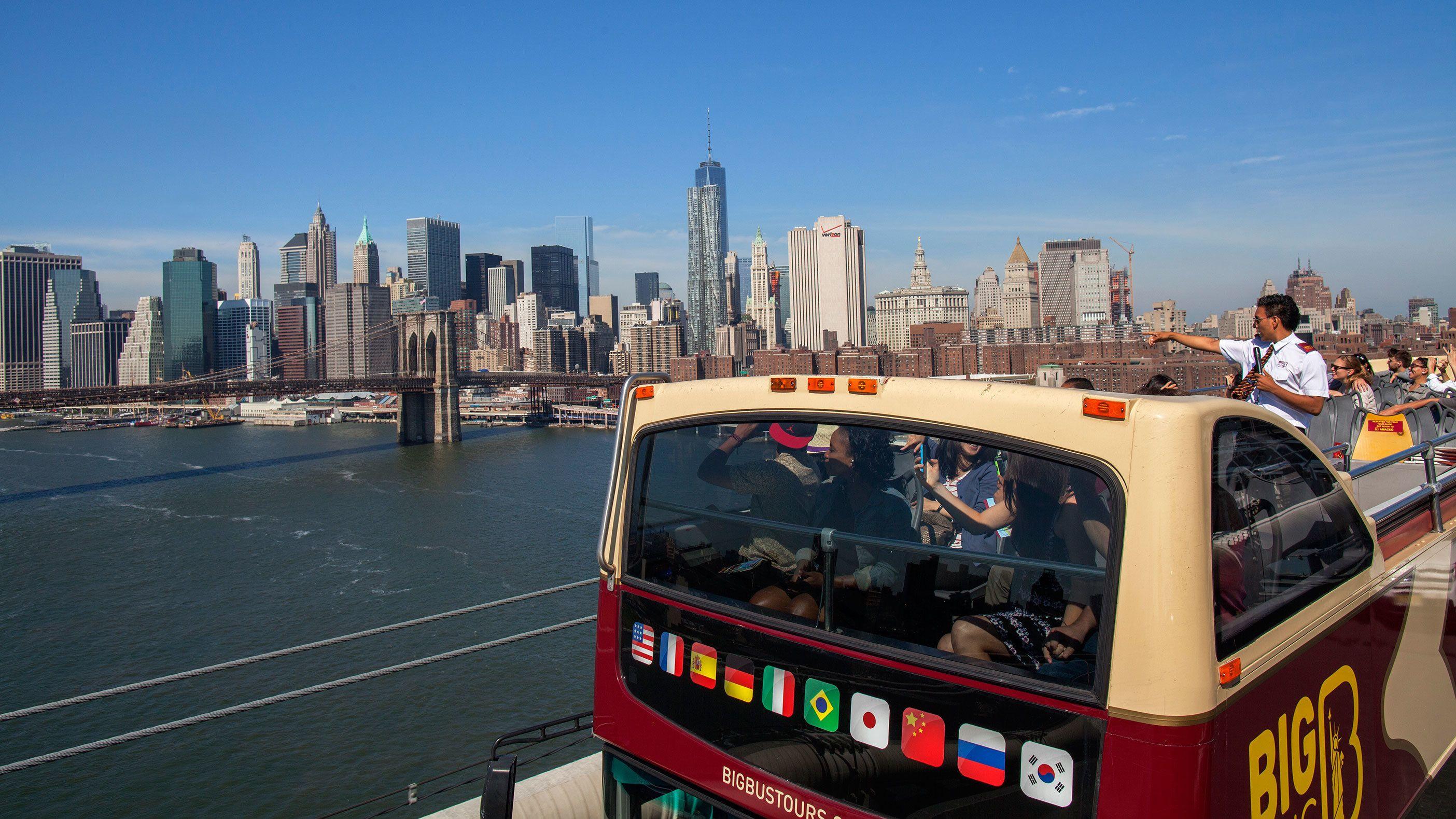 Tour bus going over a bridge in New York