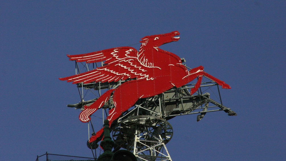 Show item 3 of 5. Famous red Pegasus  statue atop the Magnolia Hotel in Dallas