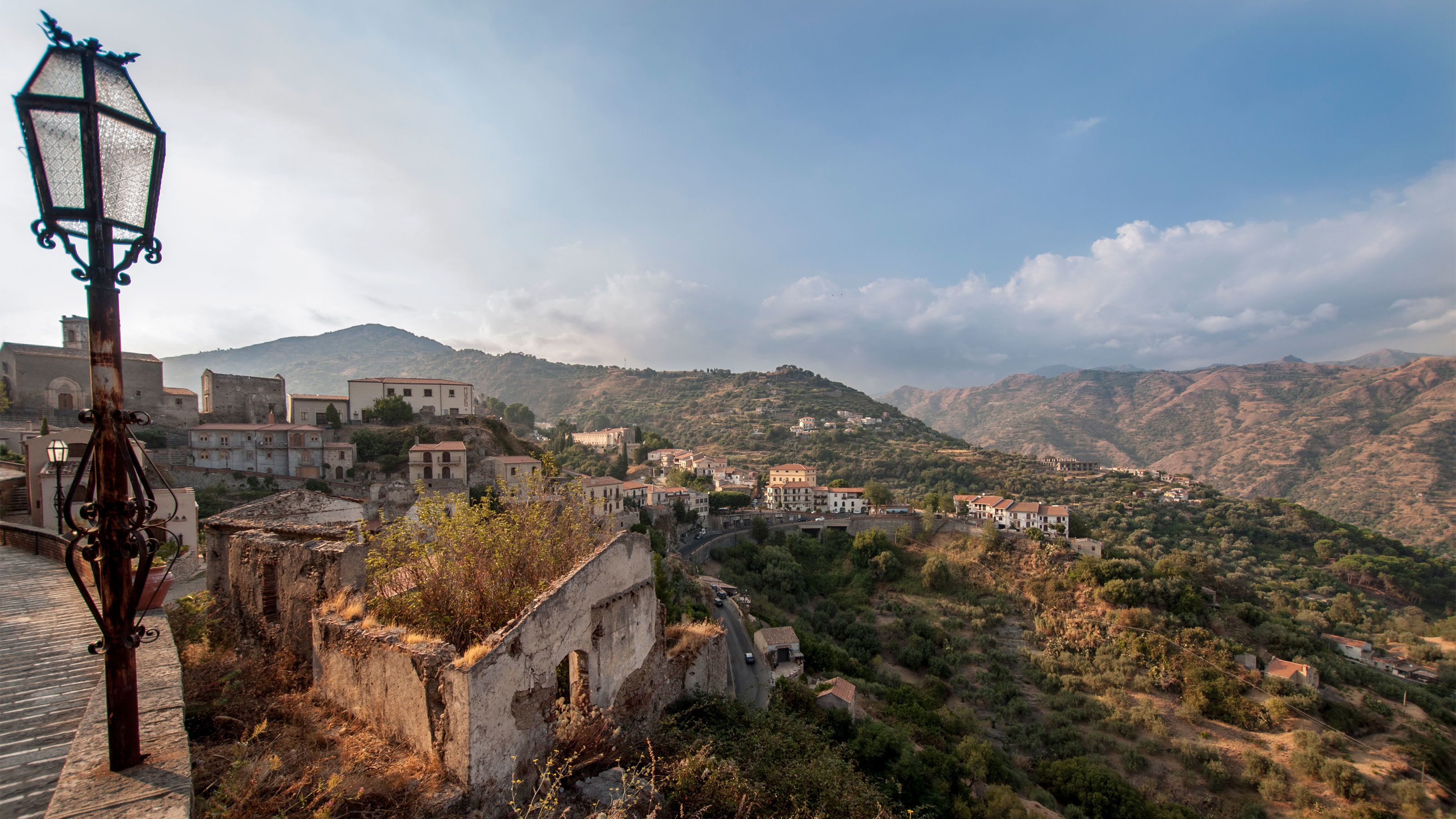 Town of Taormina nestled in the mountains of Sicily