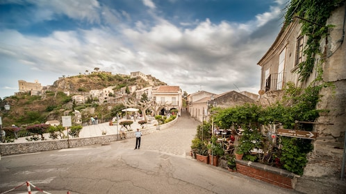 Narrow streets through the ancient town of Taormina in the mountains of Sicily