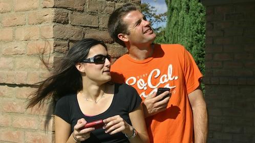 Couple viewing landmark in San Luis Obispo