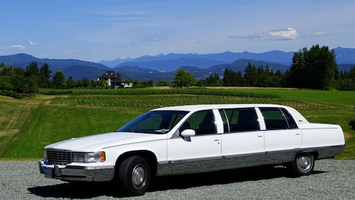 Limo parked near a farm in Whistler