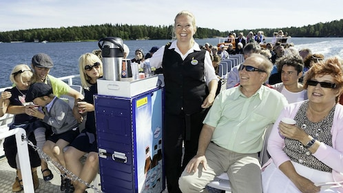 Tour group on a boat in Helsinki