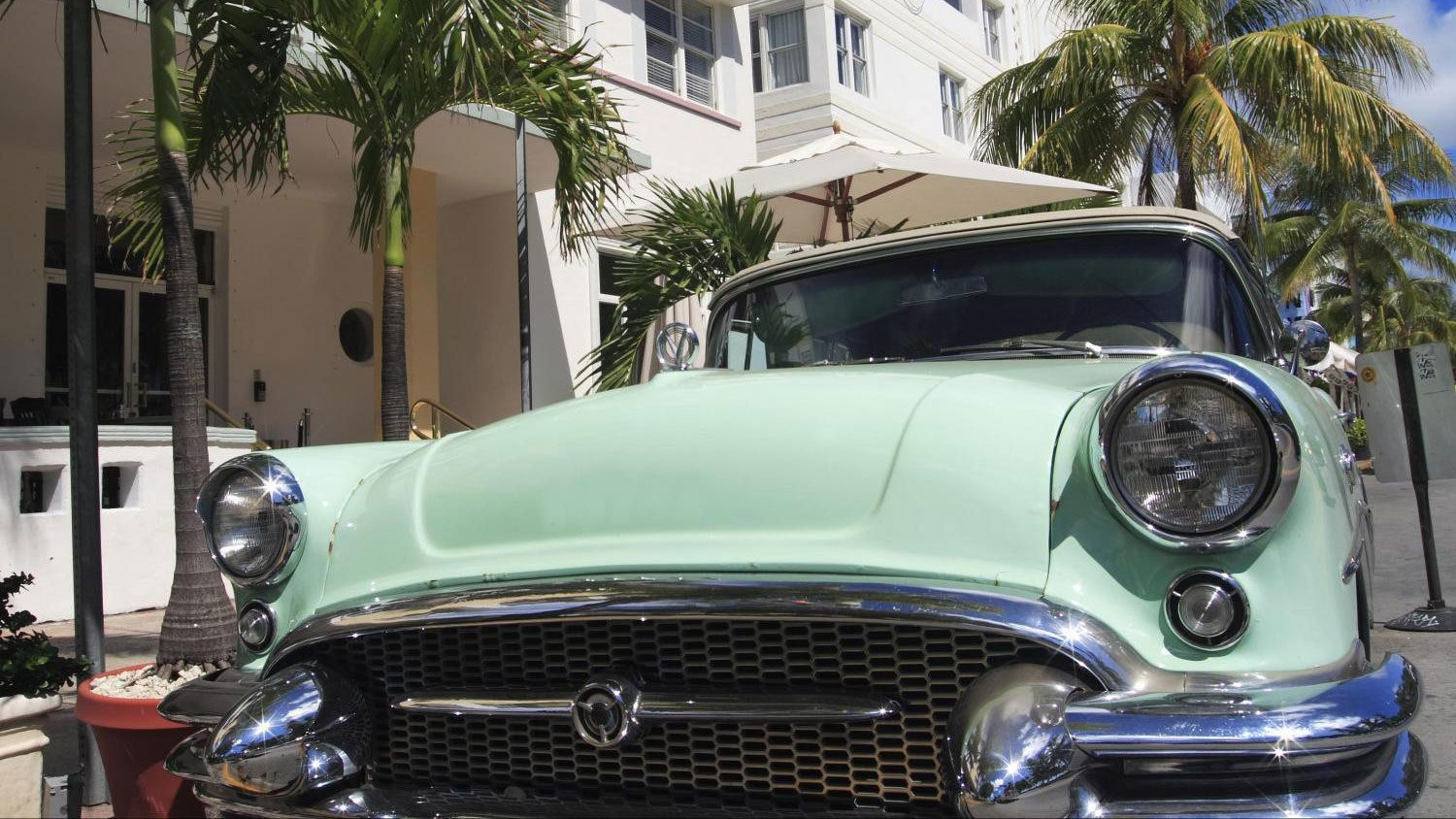 1950s style car on a street in Miami