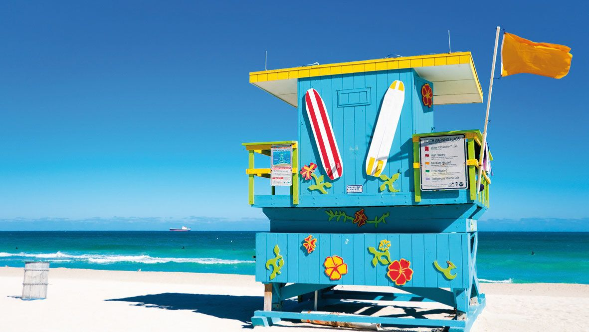 Colorful lifeguard stand on a beach in Miami