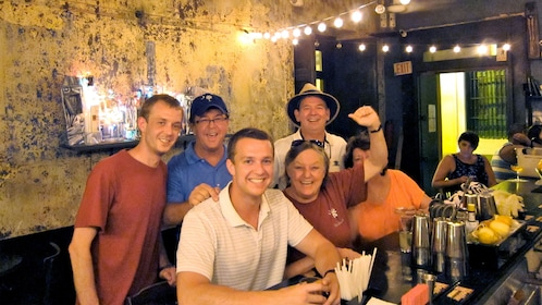 Group sitting at a bar in Puerto Rico