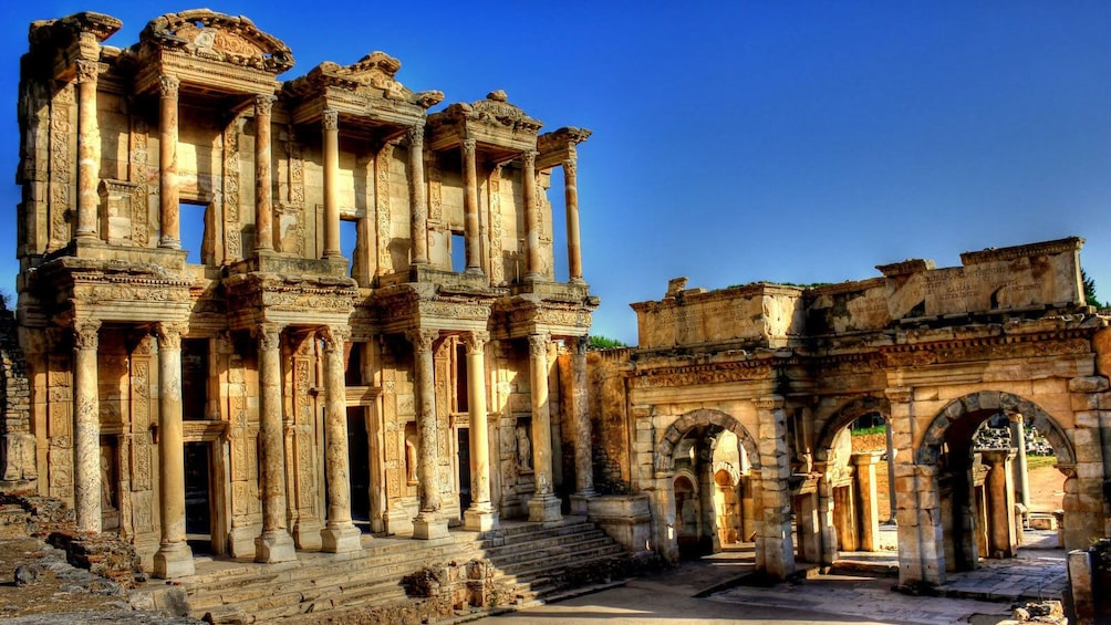 Show item 1 of 8. Ruins of the Library of Celsus and the Gate of Augustus in Ephseus