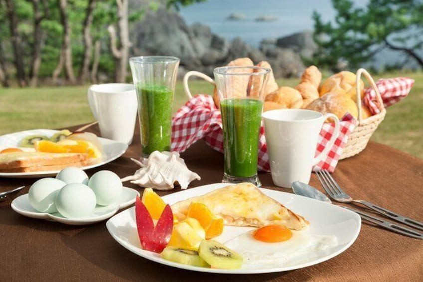 Show item 3 of 6. Sea breeze yoga and breakfast at Tanesashi Kaigan natural grass fabric
