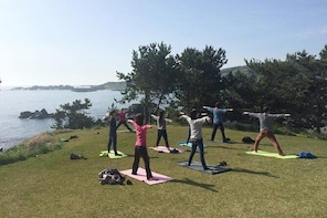 Sea breeze yoga and breakfast at Tanesashi Kaigan natural grass fabric