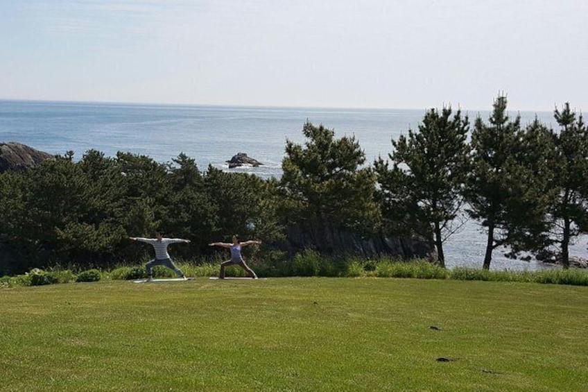 Show item 6 of 6. Sea breeze yoga and breakfast at Tanesashi Kaigan natural grass fabric