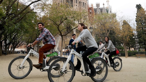 Bicycling group in Barcelona