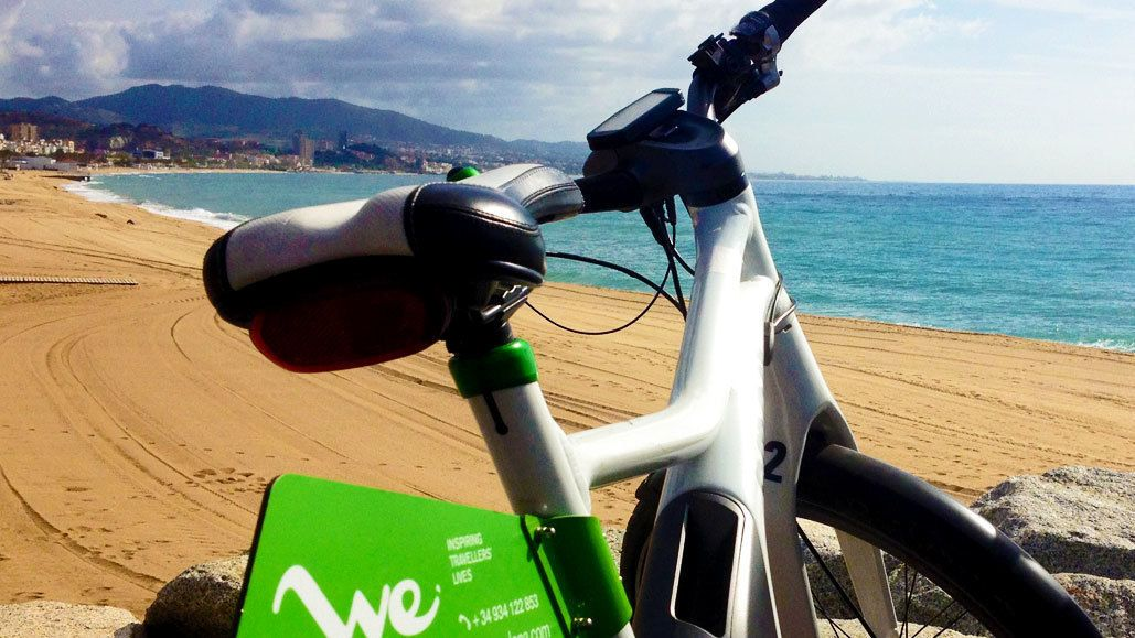 Ebike on a sandy beach in Barcelona