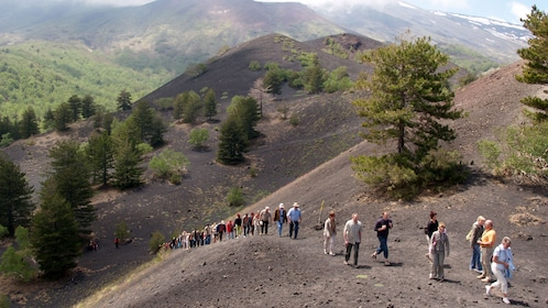 Hiking group on a trail near Mount Etna