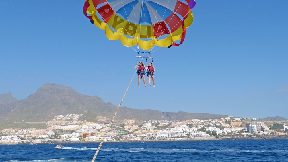 Parascending on a sunny day in Spain
