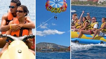 Sports nautiques combinés : jet-ski, parachute ascensionnel et flyfish