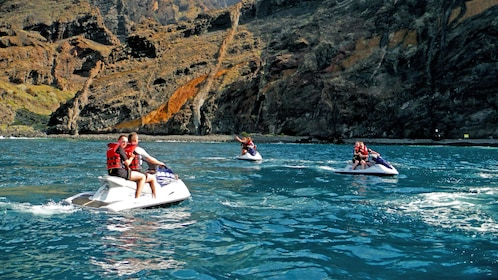 Jet ski group exploring the waters of Spain