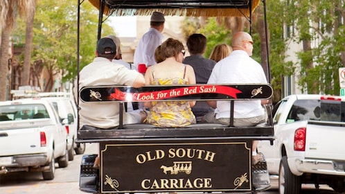 Tour group on a horse-drawn carriage on the streets of Charleston
