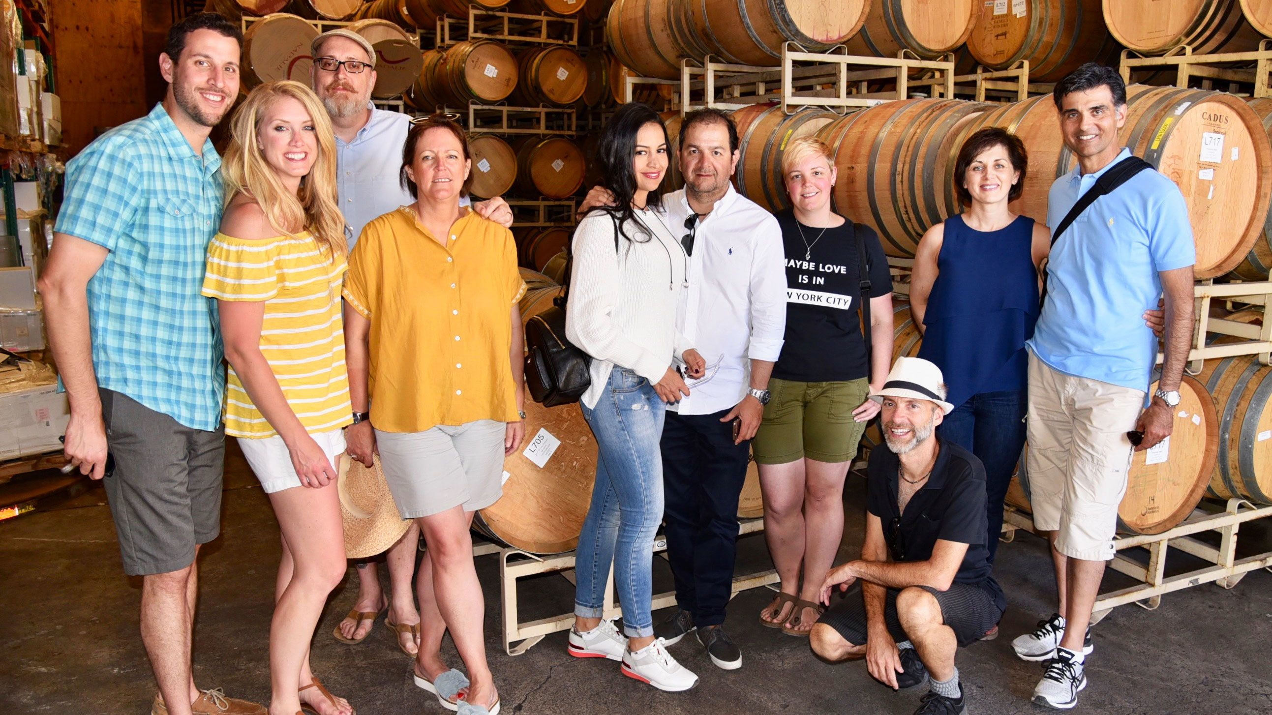 Tour group in winery in Napa Valley