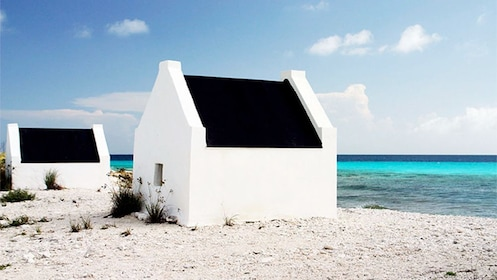 Small white buildings on the beach in Bonaire