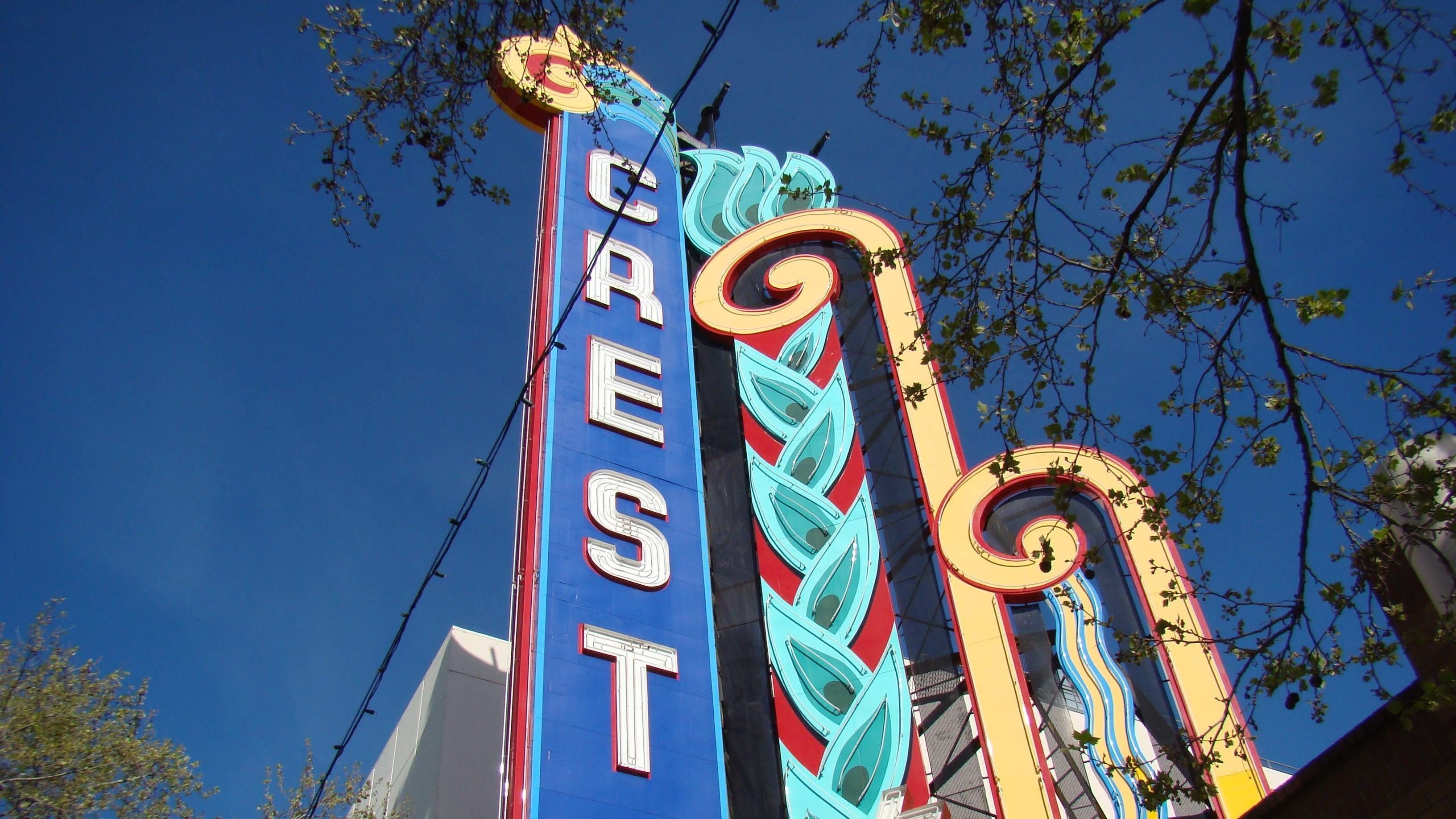Art deco marquee of the Crest Theater in Sacramento